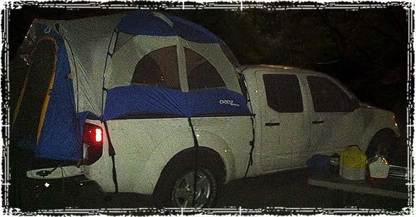Camping in a Truck Camper Tent