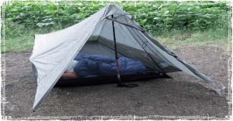 Tarp Tent Shelter Made with a Hiking Pole