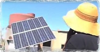 Solar panel outside an off-grid home