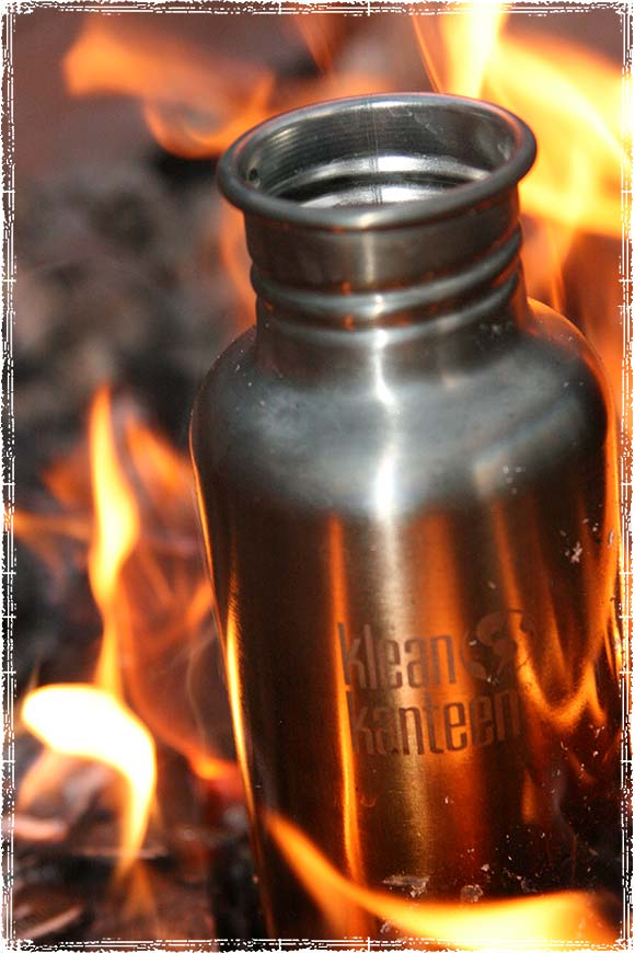 Klean Kanteen on a campfire