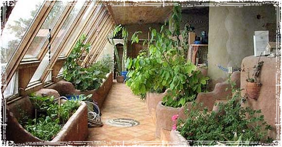 Sustainable Garden inside an Earthship