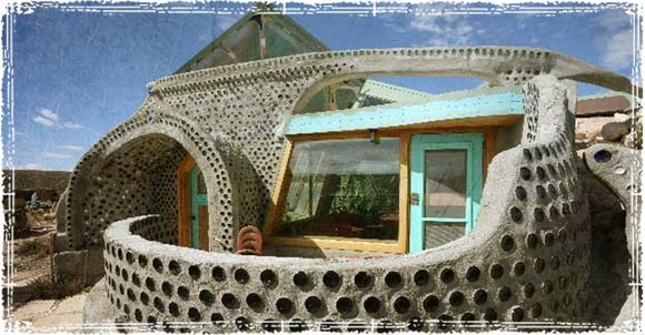 Earthship with Recycled tires and Glass Bottles