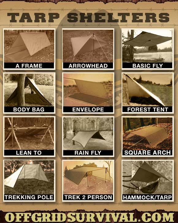 Diagram showing how to make multiple types of tarp shelters.