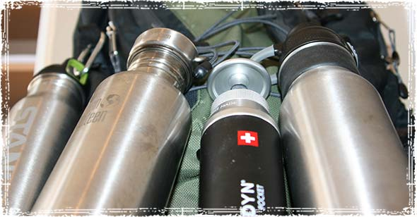 Stainless Steel Water Bottles with a Hiking Backpack