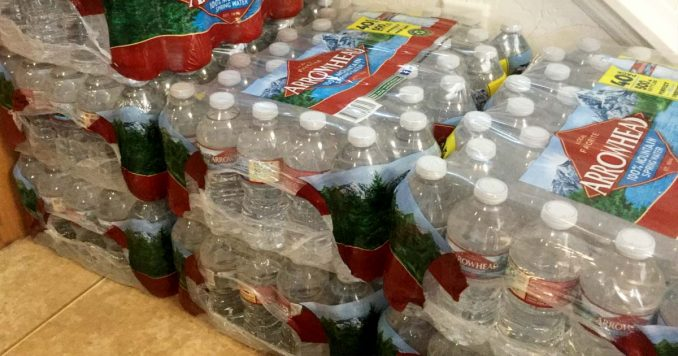 Water Bottles stacked for emergency storage