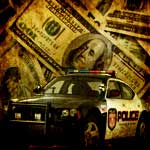 money with cop car