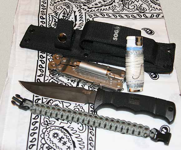 SOG Knife Sheath with Survival Items