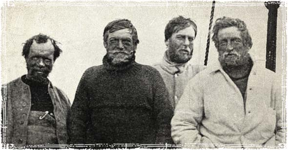 Ernest Shackleton and crew mates from the Nimrod Expedition