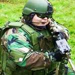 arm chair survivalist in tactical gear