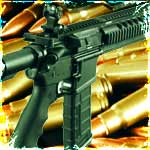 ar15 with ammo in the background