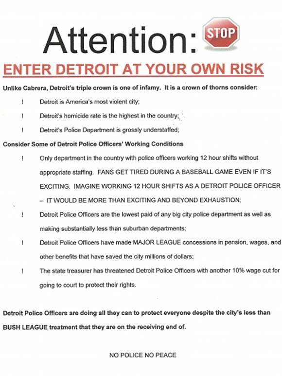 Detroit Police Enter at your own Risk Rally Flyer