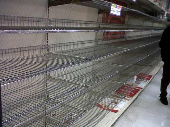 Food Store Aisles during Hurricane