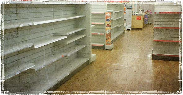 Empty Store Shelves before Storm hit