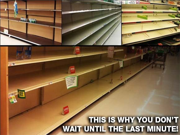 store empty after people bought emergency supplies