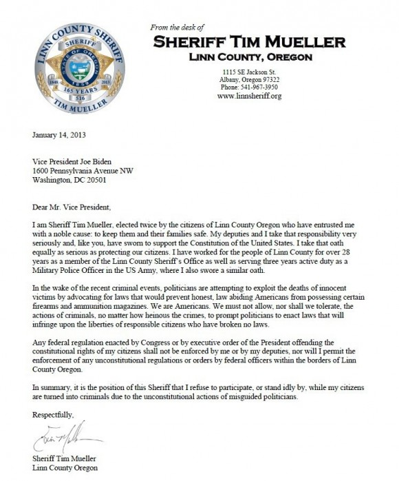 Sheriff's letter to the White House