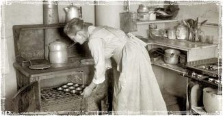 Lady cooking with a Wood Burning Stove