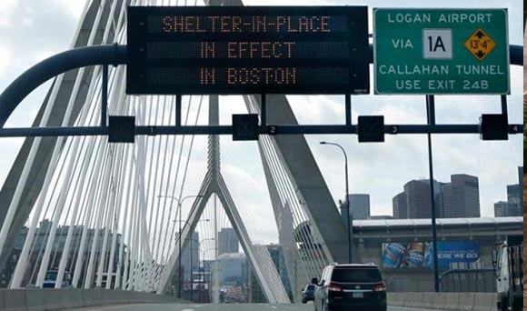 Shelter in Place Signs in Boston