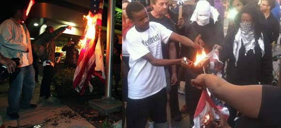 burning flags in Oakland