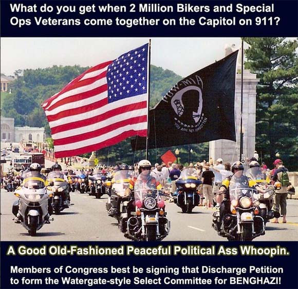 Bikers Holding Flags