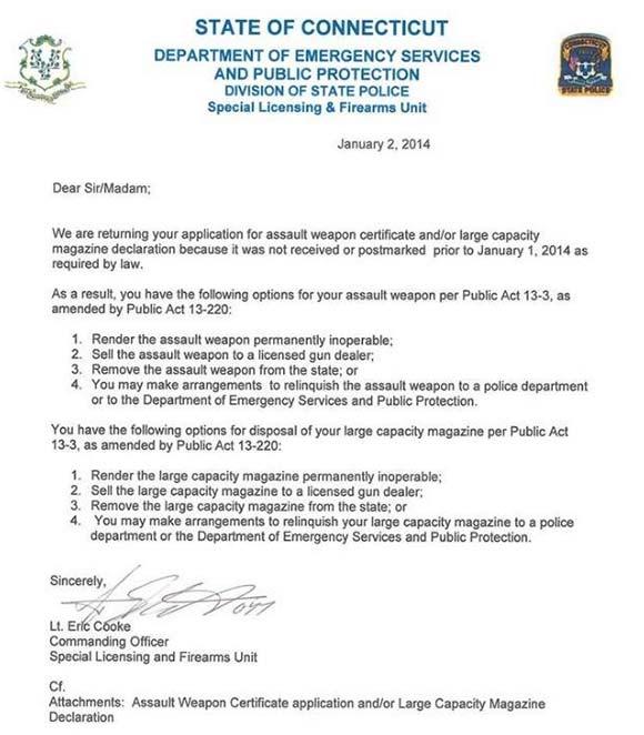 Connecticut firearm confiscation letter