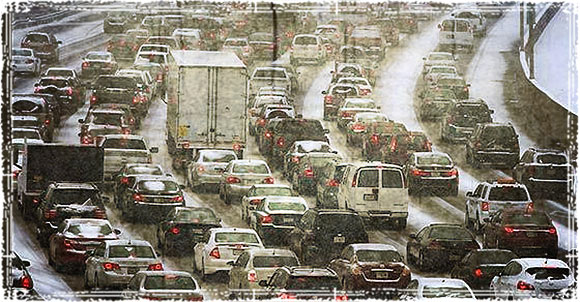 Traffic jams in a City during an evacuation.
