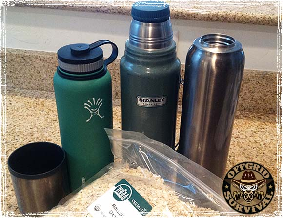 Thermos Bottles with Cooking Oats