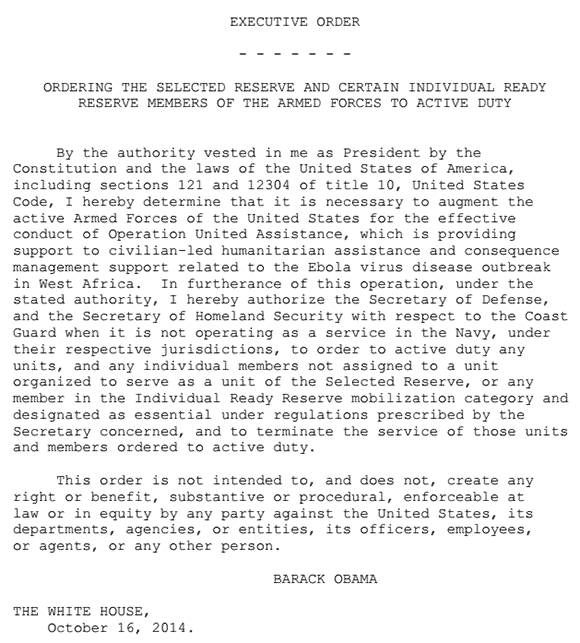 executive order calling up national guard reserve to West Africa