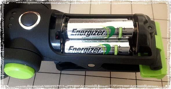 3 AA Batteries inside the Lantern