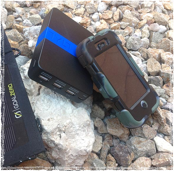 TYLT Energi Battery Pack with a Goal Zero Solar Charger and iPhone
