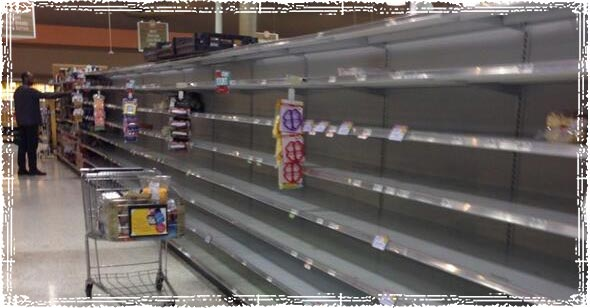 Empty Store Shelves during Winter Storm