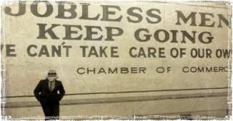 Great Depression Jobless Sign