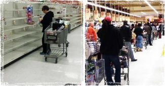 Unprepared shoppers stocking up on food for Blizzard
