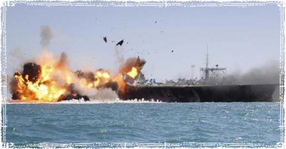 Iran attacking Mock U.S. Aircraft carrier