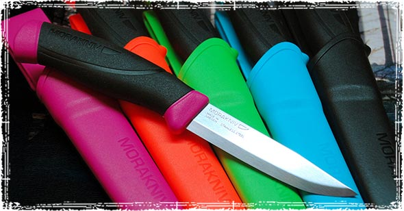 Multiple different Morakniv Companion knives in various colors