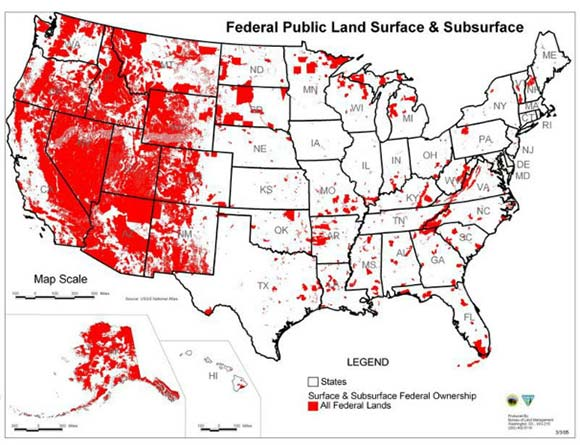 how much land the Federal Government has claimed ownership of