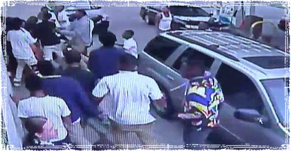 Mob Attack outside Gas Station