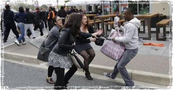 Man robing women