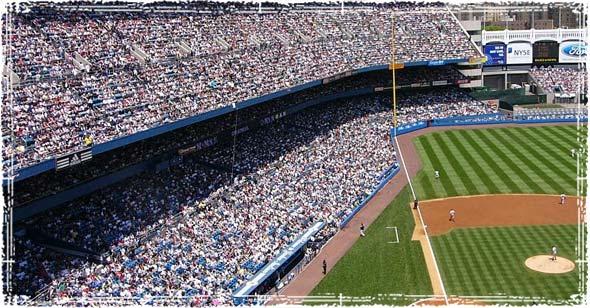 Large Baseball Stadium full of People