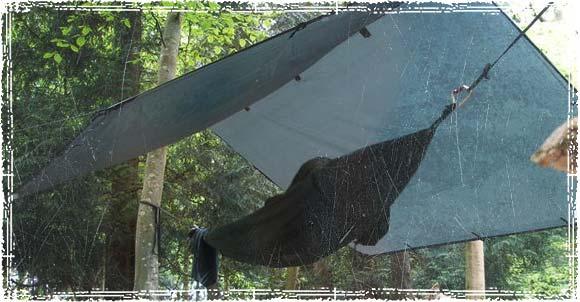 Camping under a Tarp in a Hammock