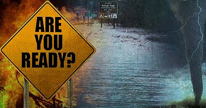 Are You Ready Sign with Disasters in the Background