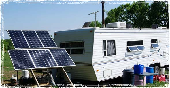 Solar Panels powering a self-sustained bunkhouse camper