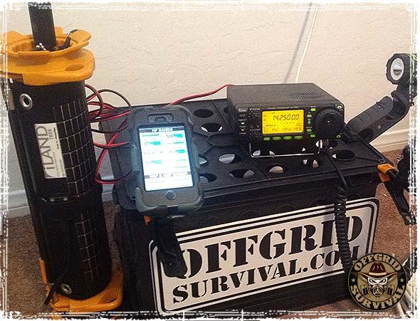 iLand Trek Solar Charger powering a Ham Radio