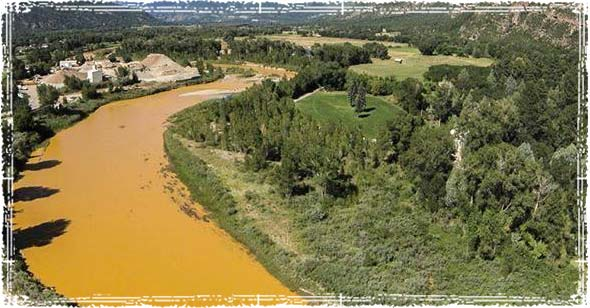 Animas River in Colorado Orange from Wastewater