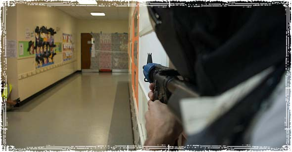 Active Shooter Training Drill inside a School