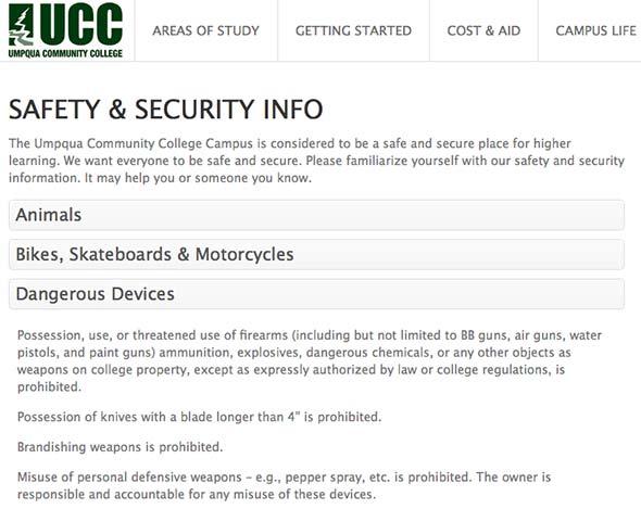 Screenshot of College Gun Policy