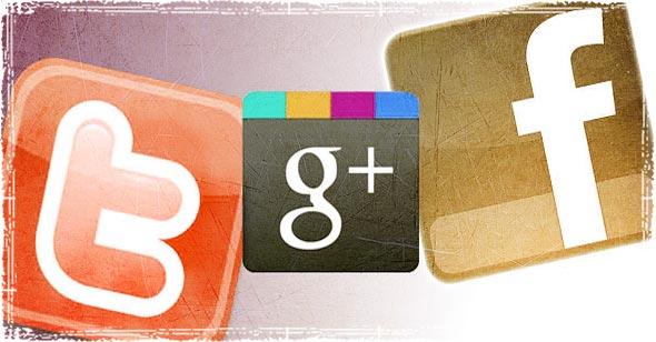 Twitter FAcebook and Google Logo