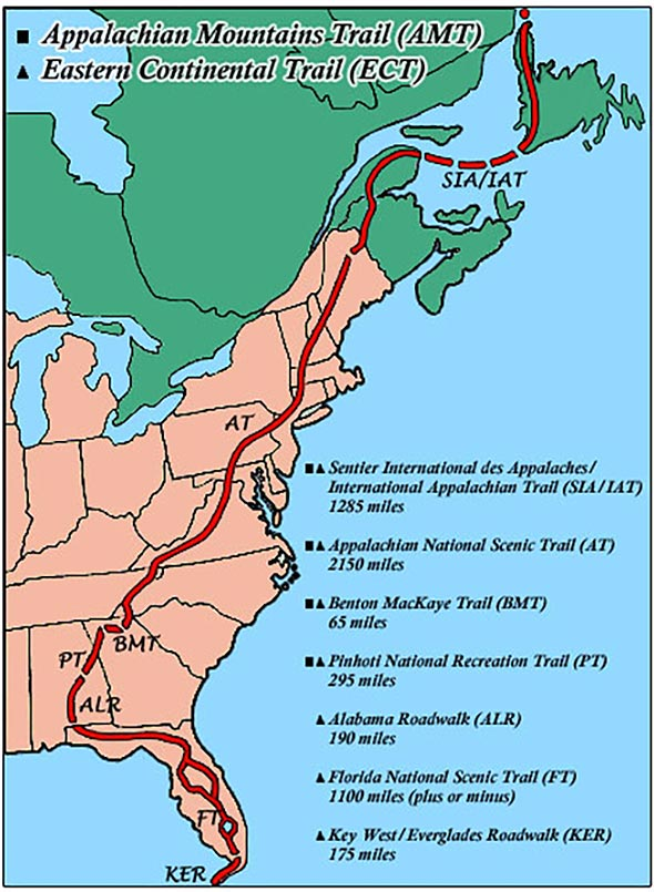 National Scenic Trails Covers All The Major Hiking Trails In The - Appalachian mountains on a us map