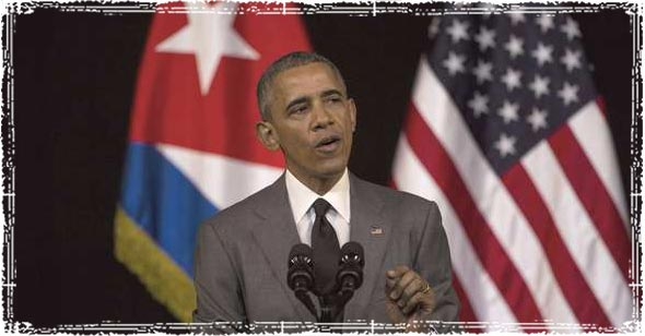Obama in Cuba giving speech
