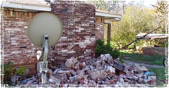 Damage to a home caused by a magnitude 5.6 earthquake in central Oklahoma on Nov. 6, 2011