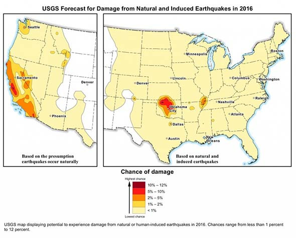 USGS Earthquake map showing potential to experience damage from a natural or human-induced earthquake in 2016.